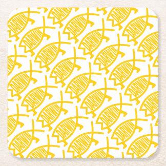 Original Darwin Fish (Mustard) Square Paper Coaster