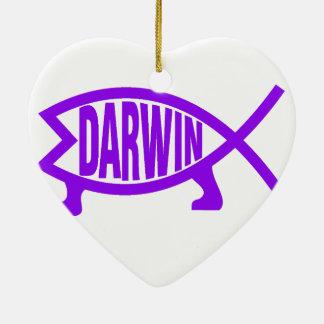 Original Darwin Fish (Purple) Ceramic Heart Decoration