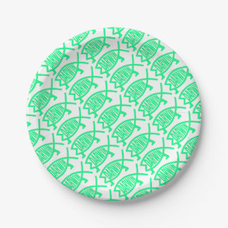 Original Darwin Fish (Seafoam) Paper Plate