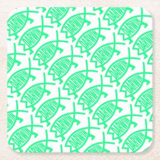 Original Darwin Fish (Seafoam) Square Paper Coaster
