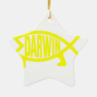 Original Darwin Fish (Yellow) Ceramic Ornament