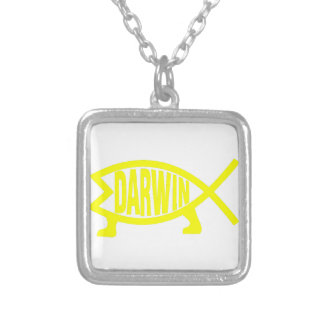 Original Darwin Fish (Yellow) Silver Plated Necklace
