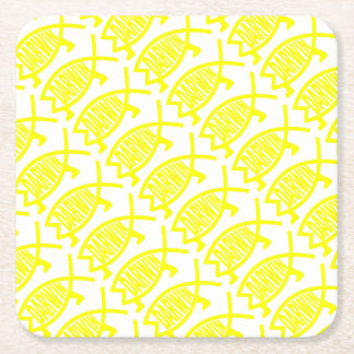 Original Darwin Fish (Yellow) Square Paper Coaster