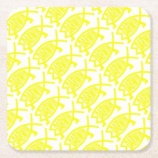 Original Darwin Fish (Yellow) Square Paper Coaster