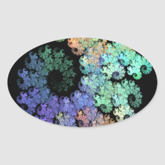 Original Digital Abstract Artwork Oval Sticker