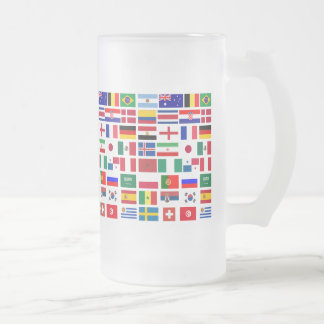 Original FOOTBALL SOCCER TEAM FLAGS 2018 pattern Frosted Glass Beer Mug