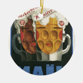 original French beer Art Deco Poster 1929 Round Ceramic Decoration