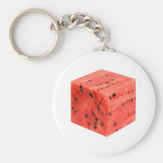 Original Fresh Sweet Red Watermelon Food Cube Key Ring