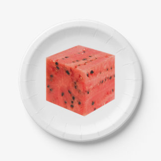 Original Fresh Sweet Red Watermelon Food Cube Paper Plate