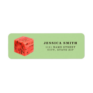 Original Fresh Sweet Red Watermelon Food Cube Return Address Label