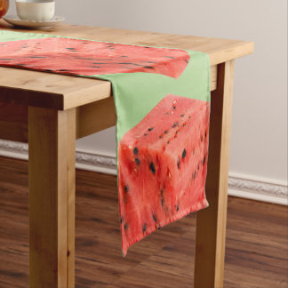 Original Fresh Sweet Red Watermelon Food Cube Short Table Runner