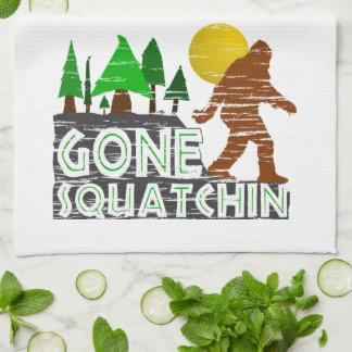 Original Gone Squatchin Design Tea Towel