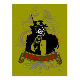 """Original grunge skull faced """"I want you"""" Uncle Sam Postcard"""