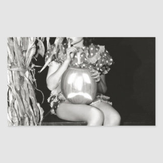 Original halloween vintage witch photo rectangular sticker