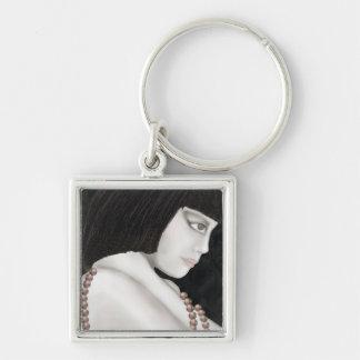 original illustration art deco style Silver-Colored square key ring