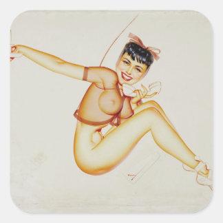 Original illustration for Esquire  Pin Up Art Square Sticker