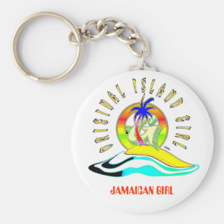ORIGINAL ISLAND GIRLZ, JAMAICAN GIRL BASIC ROUND BUTTON KEY RING