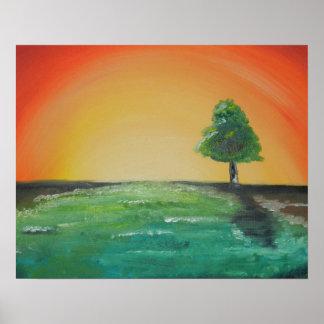 Original Landscape sunrise tree painting design Poster