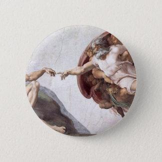 Original Michelangelo paint in sistin chapel Rome 6 Cm Round Badge