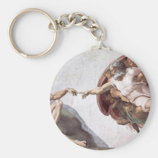 Original Michelangelo paint in sistin chapel Rome Basic Round Button Key Ring
