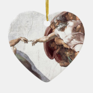 Original Michelangelo paint in sistin chapel Rome Ceramic Heart Decoration