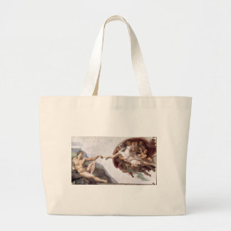 Original Michelangelo paint in sistin chapel Rome Large Tote Bag