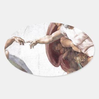 Original Michelangelo paint in sistin chapel Rome Oval Sticker