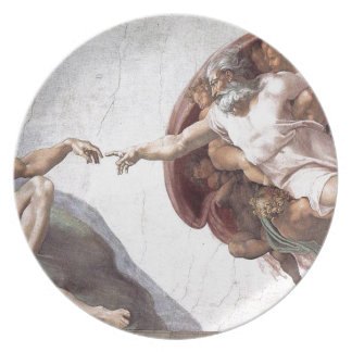 Original Michelangelo paint in sistin chapel Rome Plate