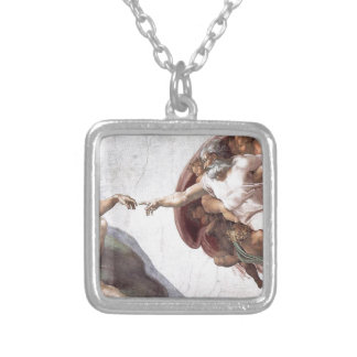 Original Michelangelo paint in sistin chapel Rome Silver Plated Necklace