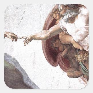 Original Michelangelo paint in sistin chapel Rome Square Sticker