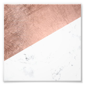 Original modern rose gold white marble color block photographic print