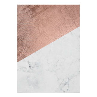 Original modern rose gold white marble color block poster