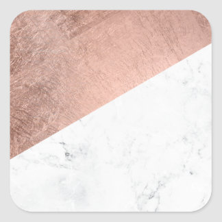 Original modern rose gold white marble color block square sticker