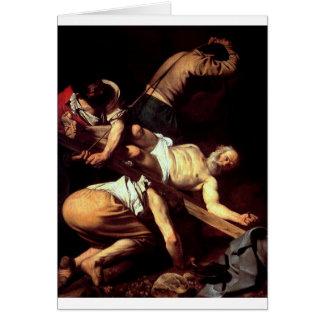 """Original paint """"La crocifissione di s Pietro"""" Card"""