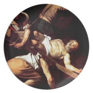 """Original paint """"La crocifissione di s Pietro"""" Plate"""