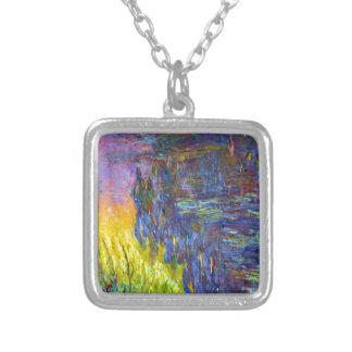 """Original paint """"The Water Lilies"""" by Claude Monet Silver Plated Necklace"""
