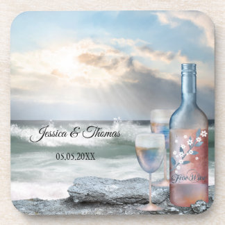 Original Painted Beach and Wine Wedding Coasters