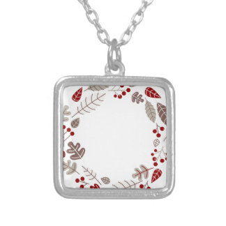 Original painted leaves circle Brown Silver Plated Necklace