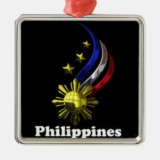 Original Philippine Logo. Mabuhay Pilipinas ! Silver-Colored Square Decoration