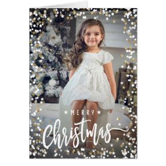 Original photo Christmas card snow confetti
