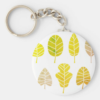 Original plastic button with Leaves Basic Round Button Key Ring