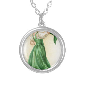 Original poster of St Patricks Day Flag Lady Silver Plated Necklace