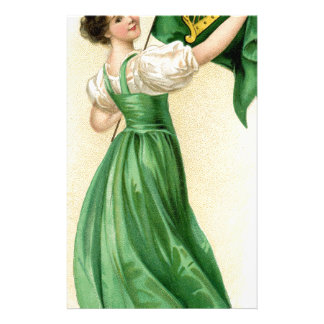 Original poster of St Patricks Day Flag Lady Stationery