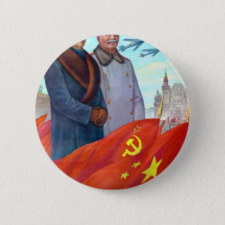 Original propaganda Mao tse tung and Joseph Stalin 6 Cm Round Badge
