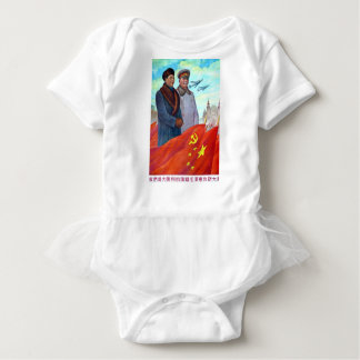 Original propaganda Mao tse tung and Joseph Stalin Baby Bodysuit