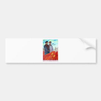 Original propaganda Mao tse tung and Joseph Stalin Bumper Sticker