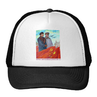 Original propaganda Mao tse tung and Joseph Stalin Cap