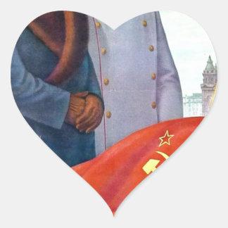 Original propaganda Mao tse tung and Joseph Stalin Heart Sticker