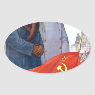 Original propaganda Mao tse tung and Joseph Stalin Oval Sticker