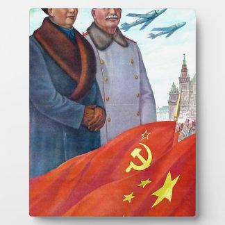 Original propaganda Mao tse tung and Joseph Stalin Plaque